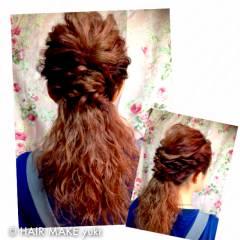 ヘアアレンジ 波ウェーブ ストリート 結婚式 ヘアスタイルや髪型の写真・画像