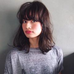 黒髪 大人かわいい ミディアム ストレート ヘアスタイルや髪型の写真・画像