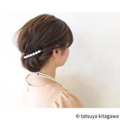 外国人風 ギブソンタック 結婚式 セミロング ヘアスタイルや髪型の写真・画像