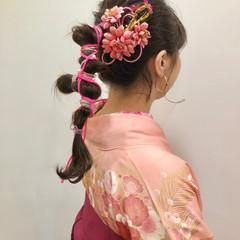 袴 ヘアアレンジ ナチュラル 卒業式 ヘアスタイルや髪型の写真・画像