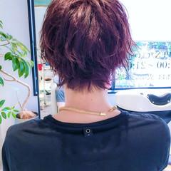 モード ボーイッシュ かっこいい パープル ヘアスタイルや髪型の写真・画像