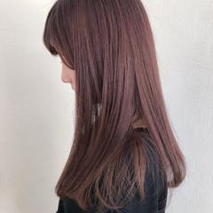 簡単ヘアアレンジ ナチュラル セミロング ラベンダーピンク ヘアスタイルや髪型の写真・画像