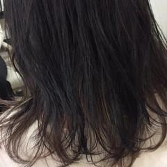 ナチュラル ハイライト セミロング 暗髪 ヘアスタイルや髪型の写真・画像