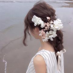結婚式 セミロング 簡単ヘアアレンジ 夏 ヘアスタイルや髪型の写真・画像