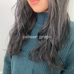 アッシュグレー シアー ホワイトグレージュ グレージュ ヘアスタイルや髪型の写真・画像