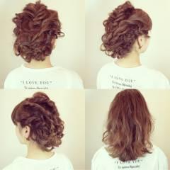 結婚式 ヘアアレンジ 三つ編み ミディアム ヘアスタイルや髪型の写真・画像
