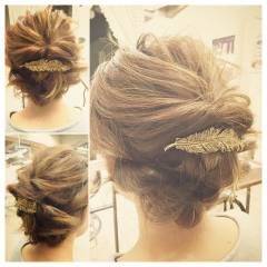 ゆるふわ ミディアム ヘアアレンジ 結婚式 ヘアスタイルや髪型の写真・画像
