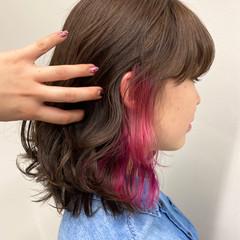 デート フェミニン 春 チェリーピンク ヘアスタイルや髪型の写真・画像
