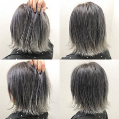 ショート グレージュ 透明感 シルバー ヘアスタイルや髪型の写真・画像