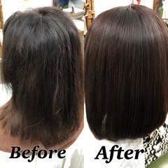 髪質改善 縮毛矯正 大人ハイライト ボブ ヘアスタイルや髪型の写真・画像