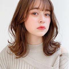 ナチュラル モテ髪 ミディアム デジタルパーマ ヘアスタイルや髪型の写真・画像