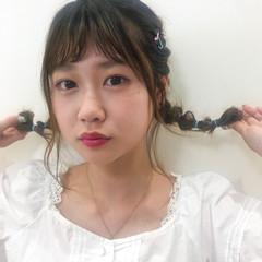 ガーリー 三つ編み ヘアアレンジ 浴衣ヘア ヘアスタイルや髪型の写真・画像