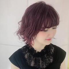 ピンクラベンダー アクセサリーカラー ピンク インナーカラー ヘアスタイルや髪型の写真・画像