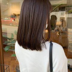 セミロング ヌーディベージュ ブラウンベージュ 透明感 ヘアスタイルや髪型の写真・画像