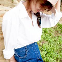 セミロング ヘアアレンジ フェミニン ハーフアップ ヘアスタイルや髪型の写真・画像