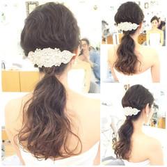 フェミニン ハーフアップ 結婚式 ロング ヘアスタイルや髪型の写真・画像