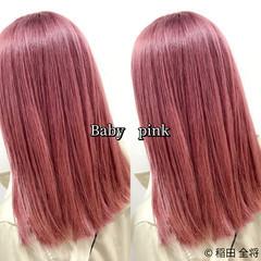 ガーリー ピンクベージュ ミディアム ヘアカラー ヘアスタイルや髪型の写真・画像