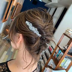 ハイライト フェミニン ヘアアレンジ 結婚式 ヘアスタイルや髪型の写真・画像
