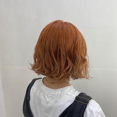 オレンジブラウン 外ハネボブ ボブ オレンジカラー ヘアスタイルや髪型の写真・画像