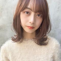 毛先パーマ ヘアアレンジ ミディアム ナチュラル ヘアスタイルや髪型の写真・画像