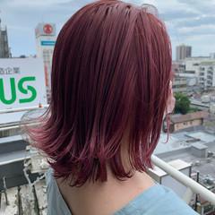 ピンクベージュ ガーリー ボブ ピンク ヘアスタイルや髪型の写真・画像