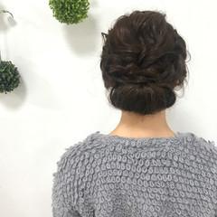 ヘアアレンジ ミディアム 編み込み フェミニン ヘアスタイルや髪型の写真・画像