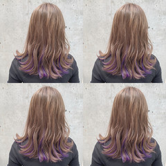 ヘアカラー セミロング インナーカラー 外国人風 ヘアスタイルや髪型の写真・画像
