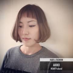 ナチュラル ストリート ボブ ダブルバング ヘアスタイルや髪型の写真・画像