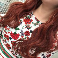 オレンジ ストリート レッド ロング ヘアスタイルや髪型の写真・画像