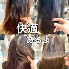 ブリーチなし ナチュラル セミロング 縮毛矯正 ヘアスタイルや髪型の写真・画像