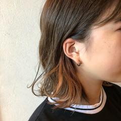 アプリコットオレンジ ガーリー インナーカラー インナーカラーオレンジ ヘアスタイルや髪型の写真・画像