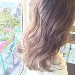 アッシュ セミロング グラデーションカラー 外国人風 ヘアスタイルや髪型の写真・画像