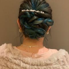 ロング 結婚式ヘアアレンジ エレガント お呼ばれヘア ヘアスタイルや髪型の写真・画像