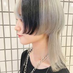 モード インナーカラー ブリーチカラー ミディアム ヘアスタイルや髪型の写真・画像