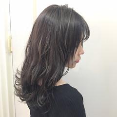 セミロング アンニュイ ハイライト 秋 ヘアスタイルや髪型の写真・画像