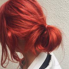 ミディアム 外国人風 オレンジ ストリート ヘアスタイルや髪型の写真・画像