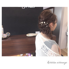 編み込み パーティ 結婚式 ヘアアレンジ ヘアスタイルや髪型の写真・画像
