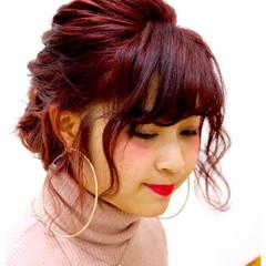 ピンク ボブ 波ウェーブ パーティ ヘアスタイルや髪型の写真・画像