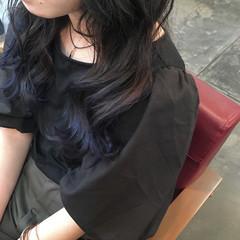 ナチュラル ブルー セミロング ネイビー ヘアスタイルや髪型の写真・画像