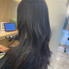 セミロング シースルーバング エレガント 韓国ヘア ヘアスタイルや髪型の写真・画像