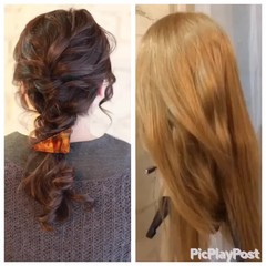 フェミニン セミロング ナチュラル ショート ヘアスタイルや髪型の写真・画像
