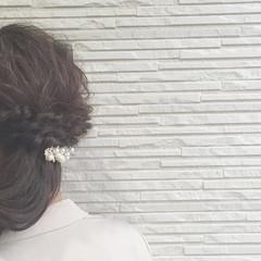 ルーズ ハーフアップ 編み込み ミディアム ヘアスタイルや髪型の写真・画像