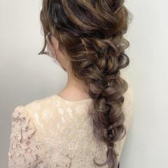 ヘアセット ロング 編みおろし 結婚式ヘアアレンジ ヘアスタイルや髪型の写真・画像