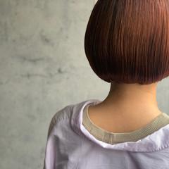 オレンジカラー ミニボブ フェミニン ボブ ヘアスタイルや髪型の写真・画像