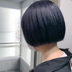 ミニボブ ネイビーブルー ボブ ショートヘア ヘアスタイルや髪型の写真・画像