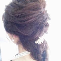 ヘアアレンジ ロング ロープ編み ハーフアップ ヘアスタイルや髪型の写真・画像