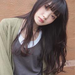 暗髪 大人かわいい ストレート 黒髪 ヘアスタイルや髪型の写真・画像