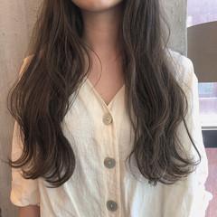 暗髪 ロング ヘアアレンジ くすみカラー ヘアスタイルや髪型の写真・画像