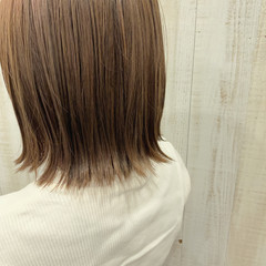 ベージュ ボブ ナチュラル 外ハネボブ ヘアスタイルや髪型の写真・画像