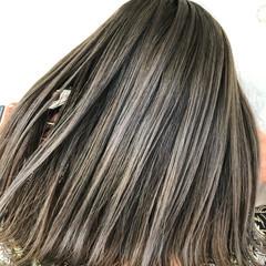 切りっぱなしボブ バレイヤージュ ミディアム 外国人風カラー ヘアスタイルや髪型の写真・画像